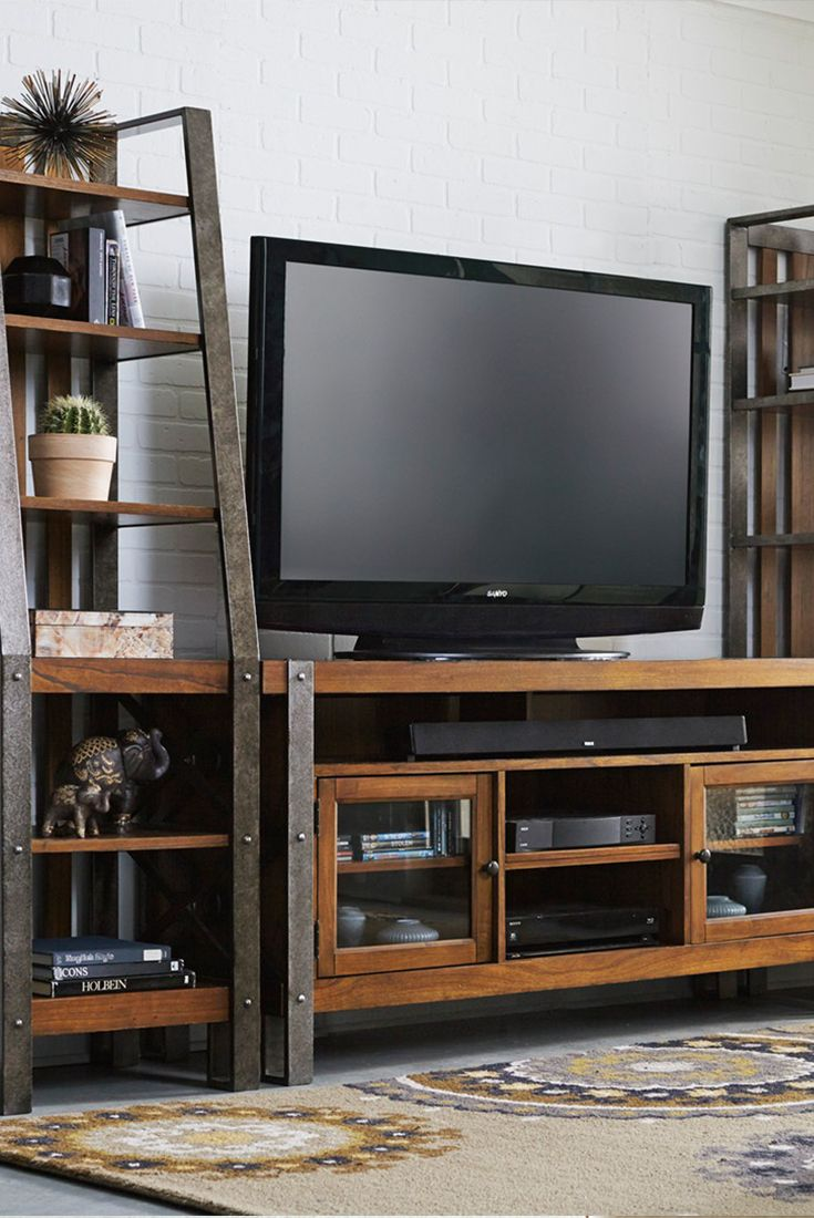 our northwood entertainment wall blends modern style with  - our northwood entertainment wall blends modern style with industrialelements its tv console features two
