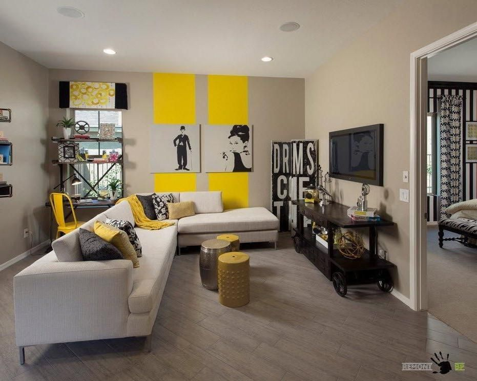 Attractive Awesome Vintage Living Room Design With Gray Yellow Wall Color With Fabric  Sofa Corner And Black Tv Cabinet Along With Simply Rack And Yellow Chair  Also ...