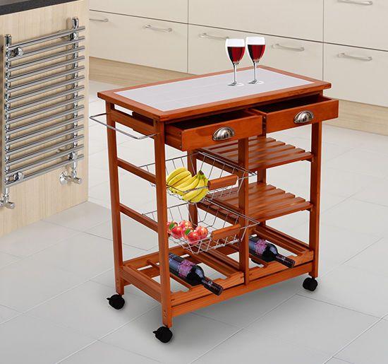 Rolling Kitchen Trolley Island Butcher Wooden Fruit Rack Storage Drawer Wheel Kitchen Trolley