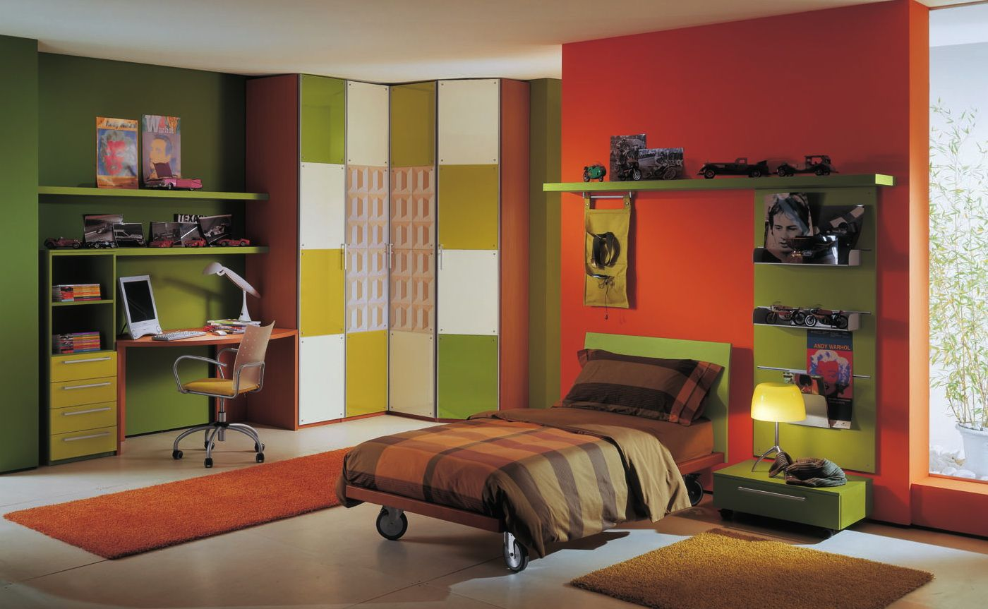 Cool chair paint designs - Colorful Kids Boys Bedroom Ideas Pictures With Minimalist Green Wood Study Desk Complete With The Storage