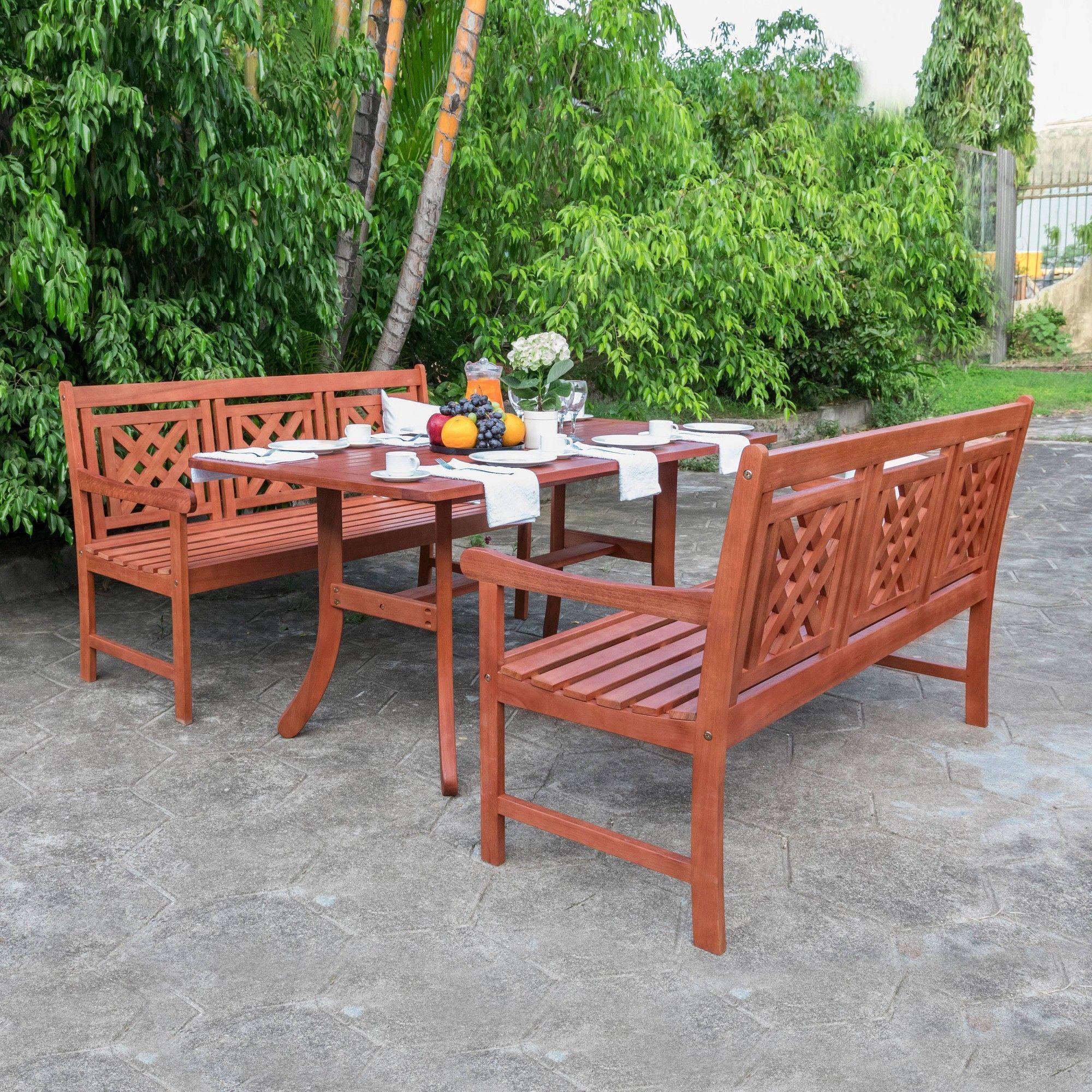 Vifah Patio Furniture.Malibu 3pc Wood Outdoor Patio Dining Set Tan Vifah In 2019