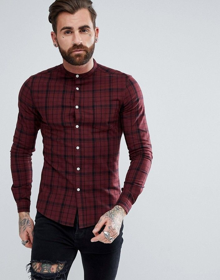 9d031db5c18 ASOS Skinny Twill Check Shirt With Grandad Collar