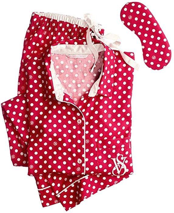 4f4b889ed699a Victoria Secret The Dreamer 3pc Light Flannel Pajamas (Medium, Red ...