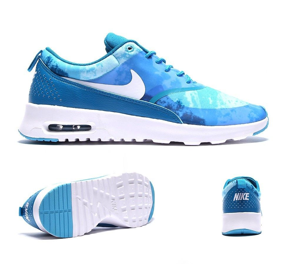 new style d7ee1 6a43f Nike Women s trainers Air Max Thea Print Trainer Blue   White UP to 60% -