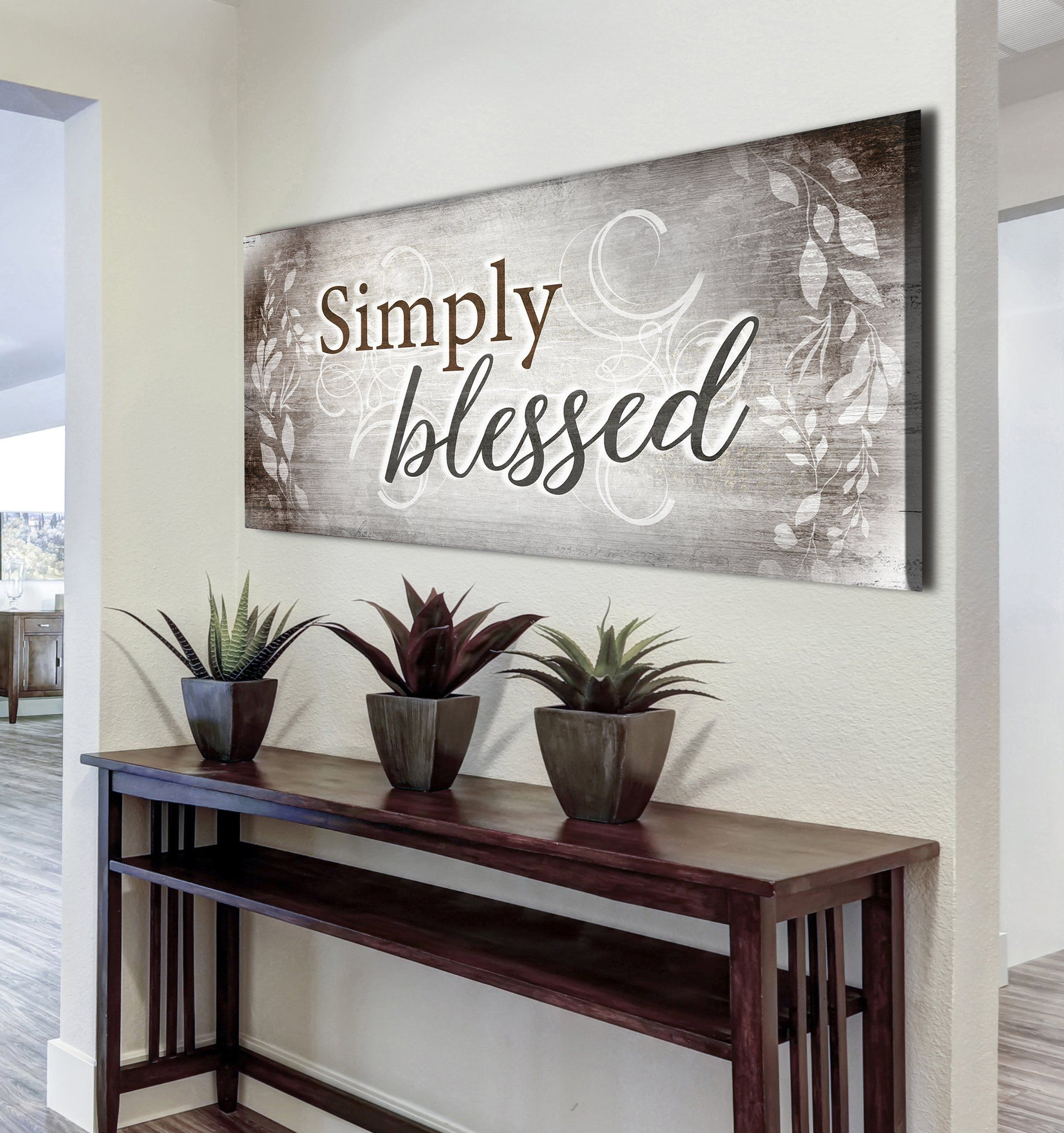 Christian Wall Art Simply Blessed V4 Wood Frame Ready To Hang Sense Of Art Christian Wall Art Home Wall Art Family Wall Art