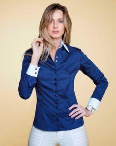 Camisa Social Feminina Branca Listras Azuis Algodão com