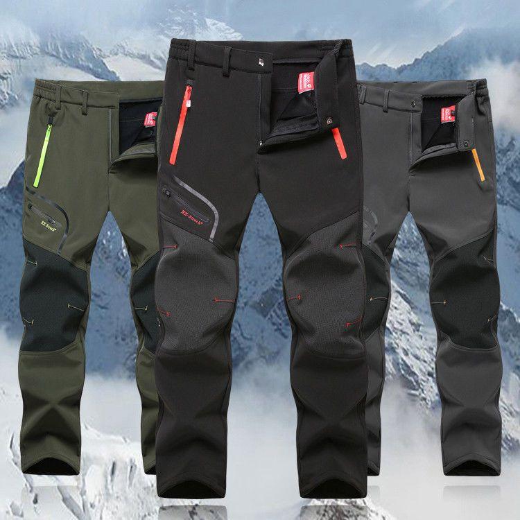 Mens Outdoor Cargo Combat Pants Fleece Warm Waterproof Hiking Climbing Trousers