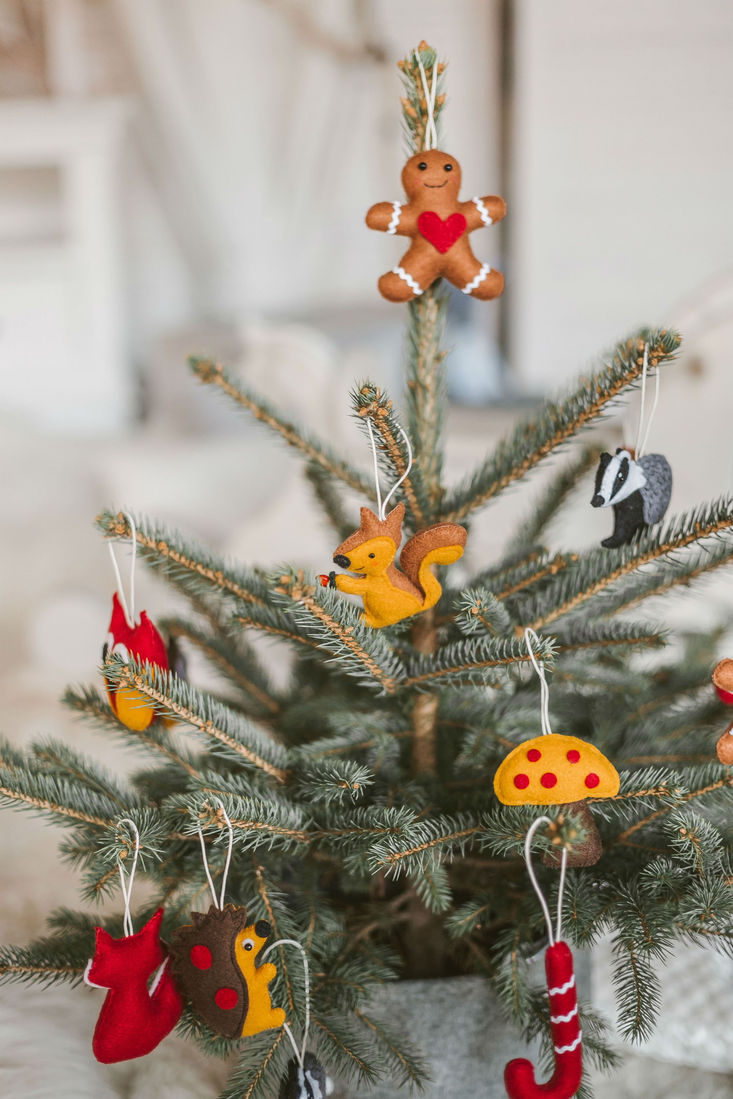 Handmade soft woodland animals and other felt ornaments