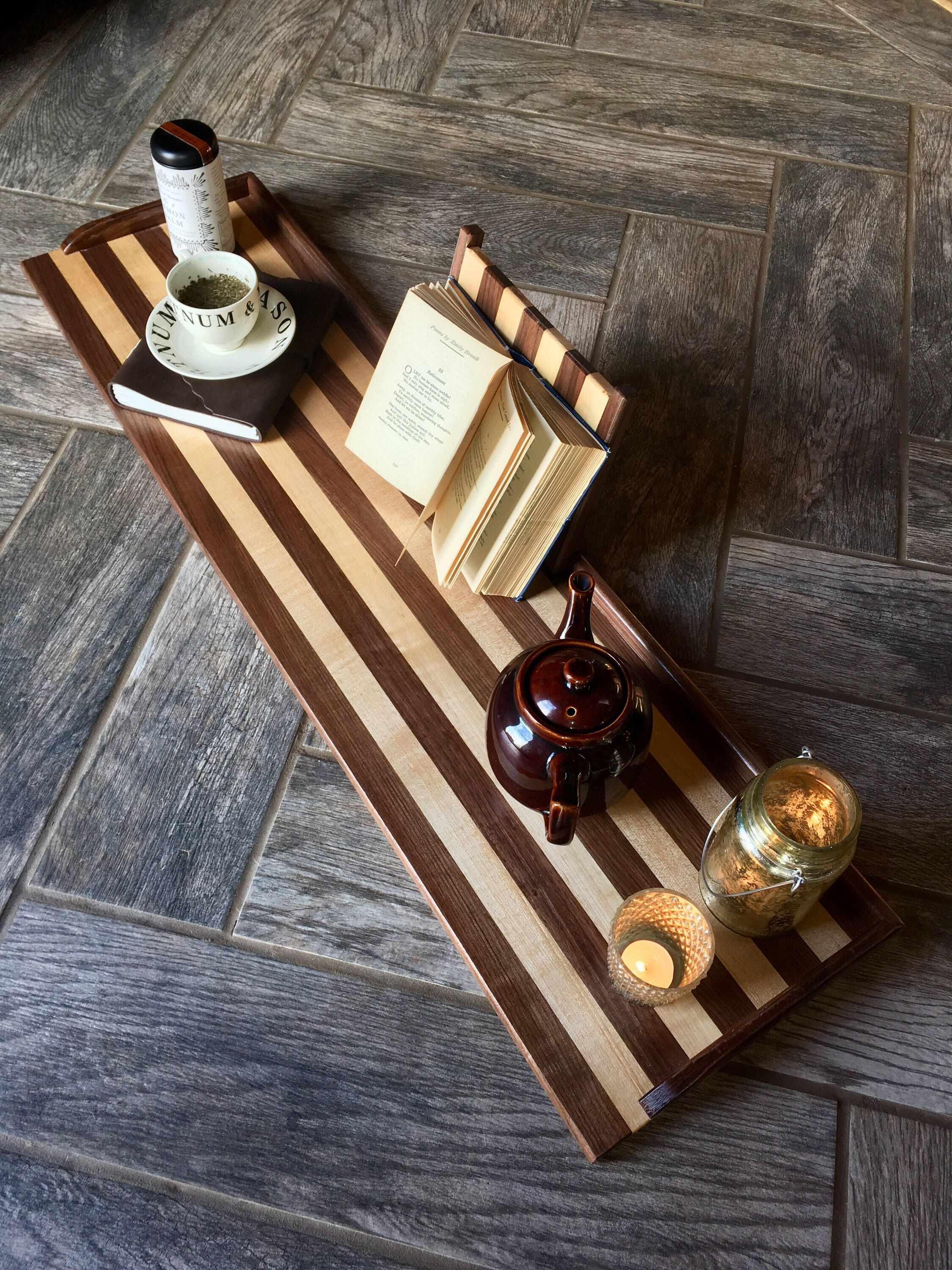 Wood bath tray, bath caddy, bath board, 41 inch, Striped walnut + ...