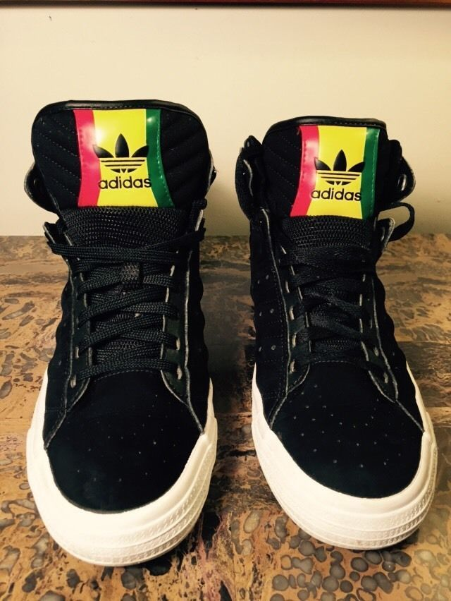 pick up 12b43 f4874 adidas originals Freemont Mid Rasta - Black  Black  Running White SZ 8  adidas hightops