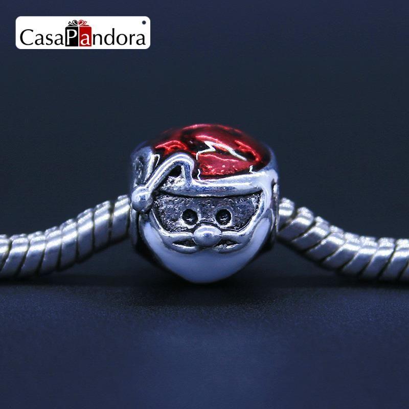 CasaPandora 925 도금 크리스마스 헤드 산타 클로스 모양의 팔찌 매력 DIY 에나멜 구슬 보석 만들기 Pingente Berloque
