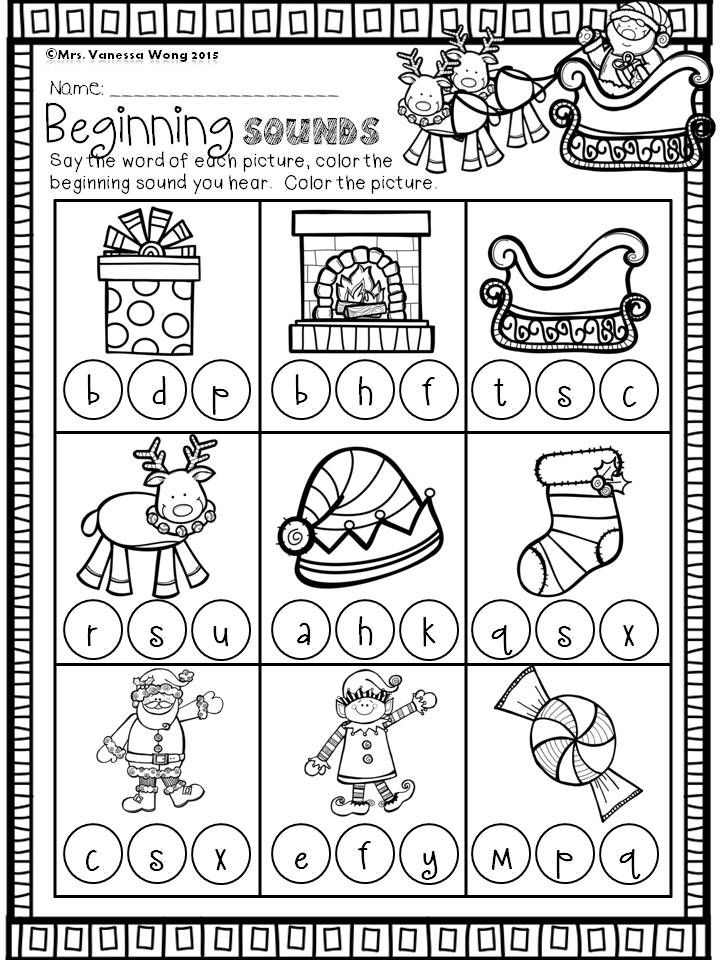 Christmas Math And Literacy Pack Kindergarten Beginning Sounds Download Free Printables At Preview Christmas Kindergarten Christmas Math Christmas Literacy