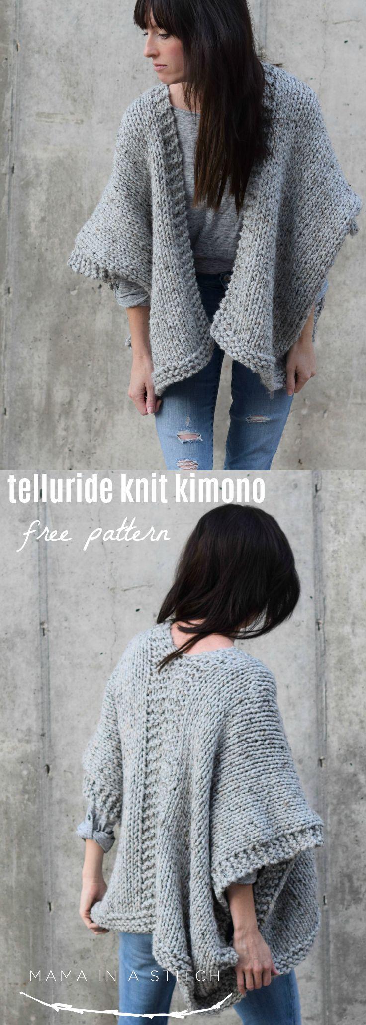 Telluride Easy Knit Kimono Pattern | Ponchos, Tejido y Dos agujas