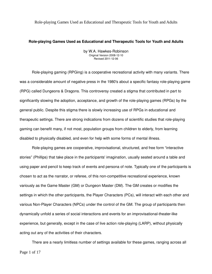 Pdf Further Developing The Possible Application Of Role Playing Gaming For Therapeutic And Educational Intervention In Thi Roleplay Education Youth Essay