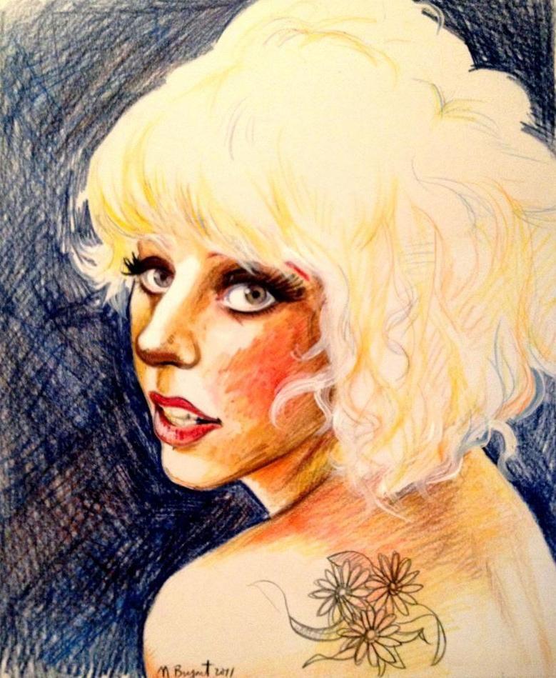 Gaga With the Flower Tattoo by Chicken-Priestess.deviantart.com on @deviantART