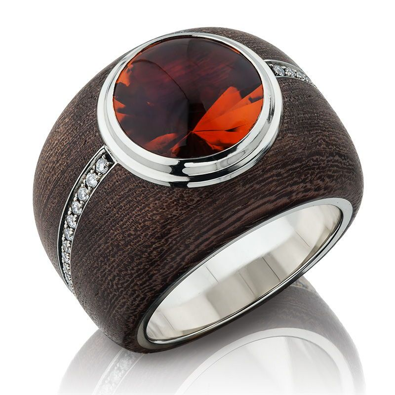 Orange Citrine Ebony Wood Ring by MARKIN