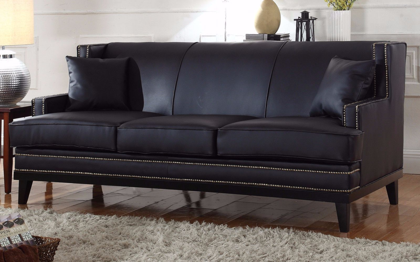 Modern Soft Bonded Leather Sofa With Nailhead Trim Details   Black