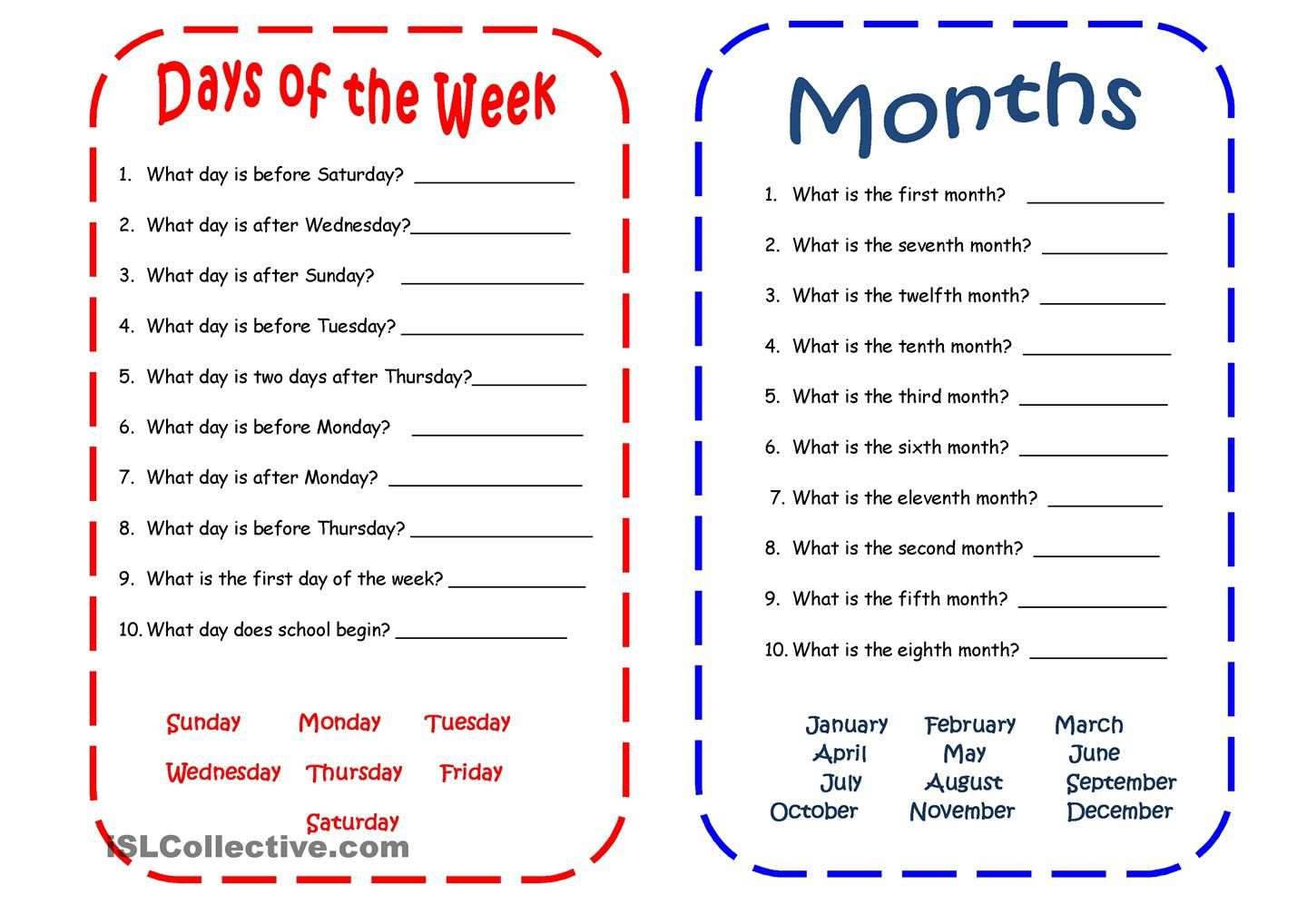 hight resolution of Days and Months   English worksheets for kids