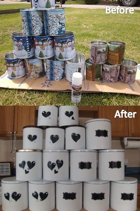 Have way to many boy scout popcorn tins Spray paint and had chalk