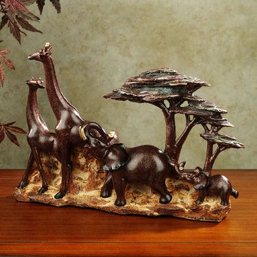In The Savannah African Animal Table Sculpture African Animals Elephant Statue Animal Decor