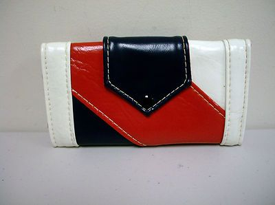 Vintage 60s 70s Red White Blue Vinyl French Purse Clutch