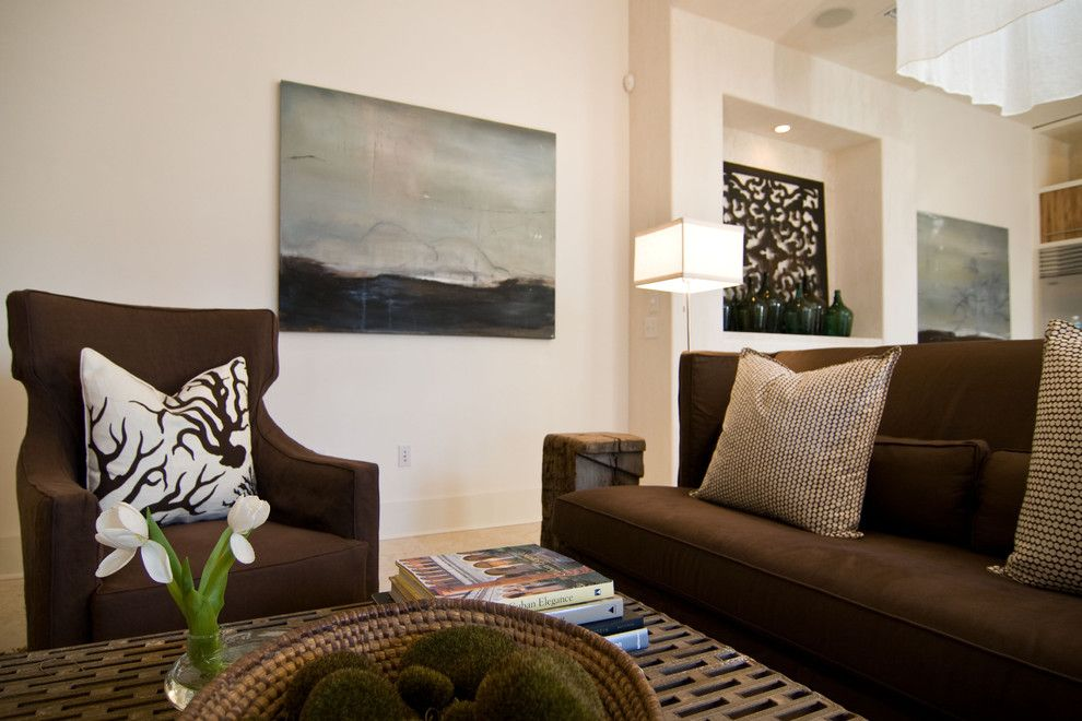 Charming Chocolate Brown Velvet Sofa Decorating Ideas In Living Room Eclectic Design With Coral Dots Hable Construction