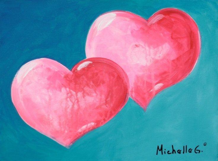 Cute hearts canvas paint idea for wall decor canvas