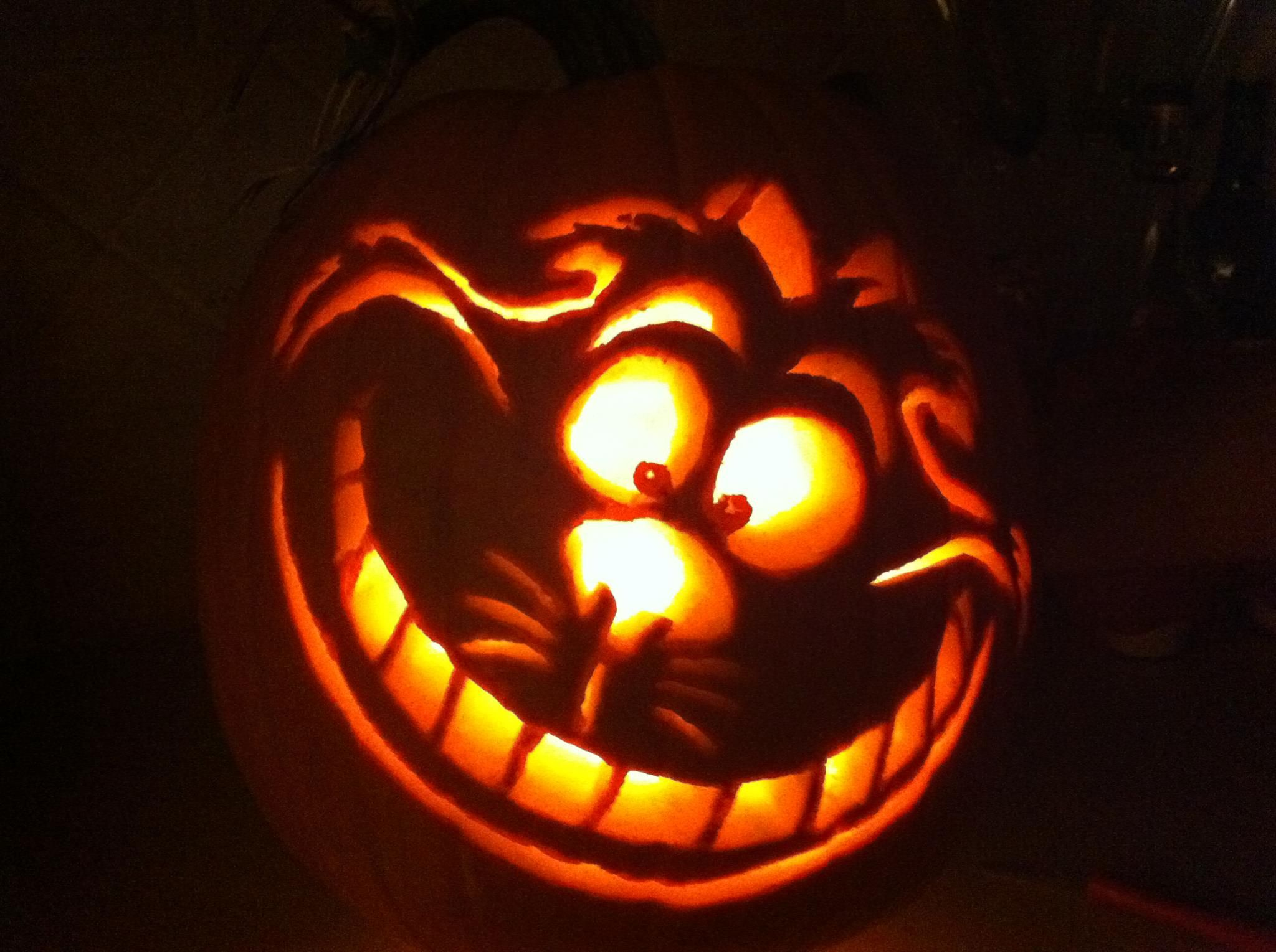 Cheshire cat so much fun carving this pumpkin
