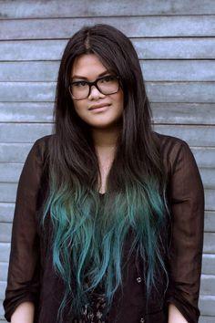 Girl Black Hair Dyed Green Ends Google Search Cute Fashion