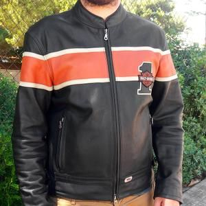 5eed86b2c378 Harley Davidson Racing No. 1 Black Leather Jacket w/Orange Stripe  98105-99EM Size L