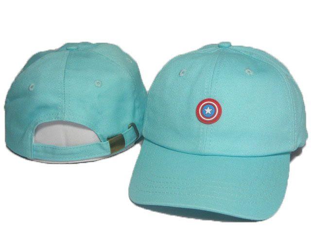 bde1f94abb3 Mens  Womens Marvel Super Hero Captain America Logo Embroidery Animation  Fashion Adjustable Strap Back Cap - Aqua