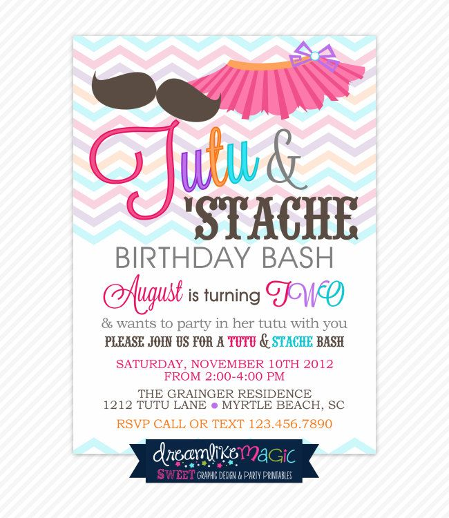 Printable Party Invitation- Tutu and Stache Bash. $13.00, via Etsy ...