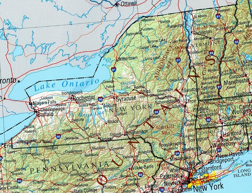 Image result for topographical map of new york state | New York ...