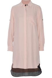 Rag & bone Paneled silk crepe de chine shirt dress