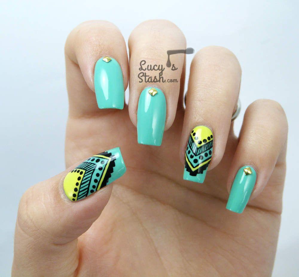 Aztec Nail Art feat. Graffiti Nails - Lucys Stash - Aztec Nail Art Feat. Graffiti Nails - Lucys Stash Nail Designs 2
