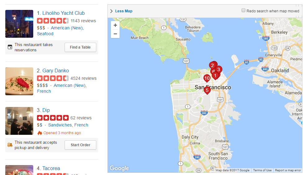 Extent-driven Content (Yelp)