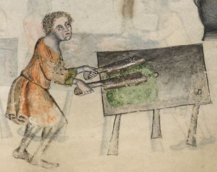 Detail from The Luttrell Psalter, British Library Add MS 42130 (medieval manuscript,1325-1340), f207r