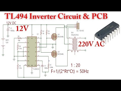 Tl494 Inverter Circuit 12v To 220v Ac Youtube In 2020 Electronic Circuit Design Circuit Electrical Projects