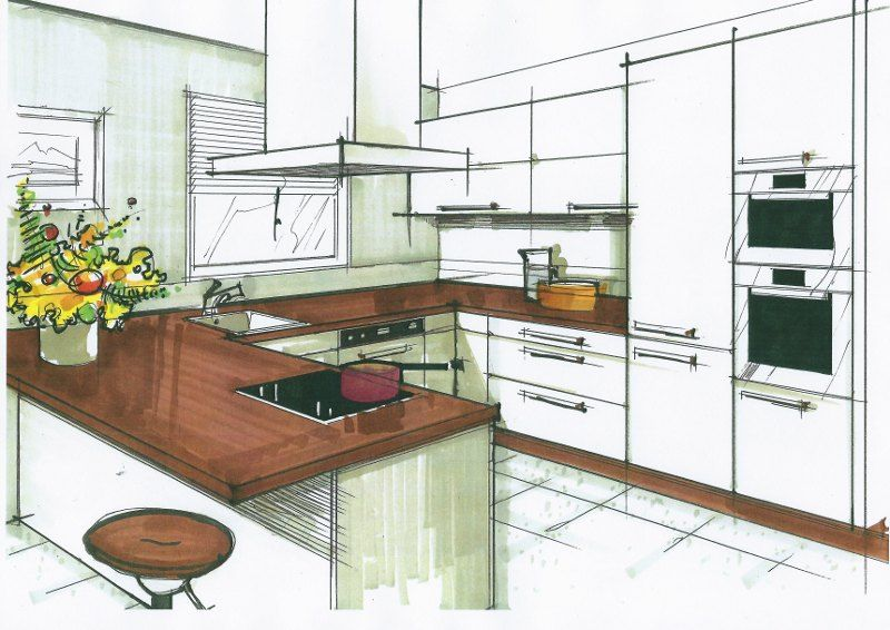 dessin de linterieur dune maison en perspective. Black Bedroom Furniture Sets. Home Design Ideas
