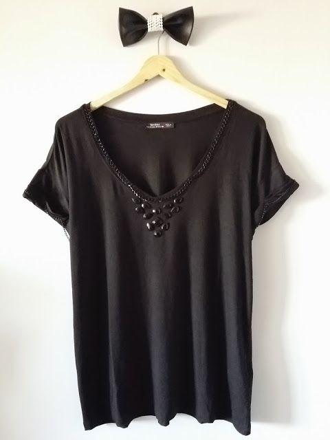 554dc4dabe80 TACHUELAS DIY   CO  DIY Camiseta joya  Customiza con cadenas y abalorios en  forma de collar (Parte 6)