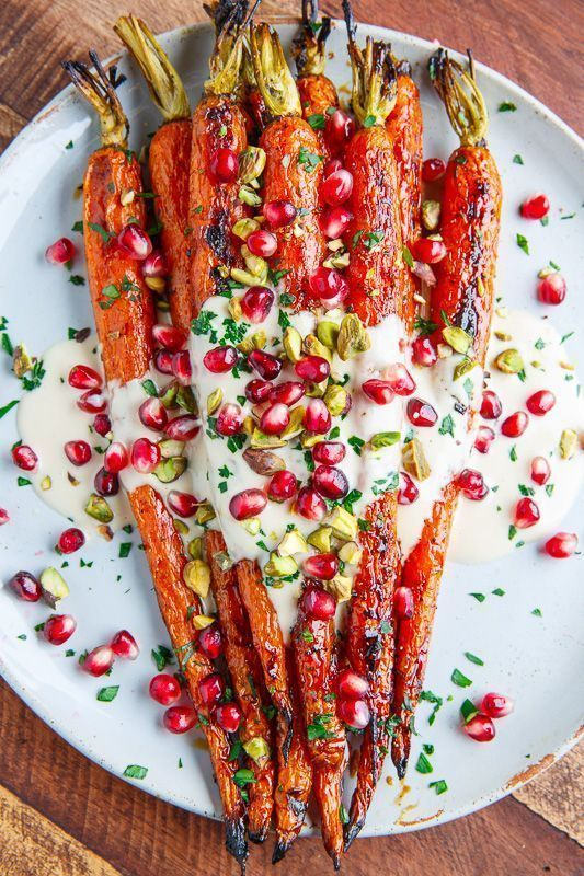 Photo of Maple Roasted Carrots in Tahini Sauce with Pomegranate and Pistachios