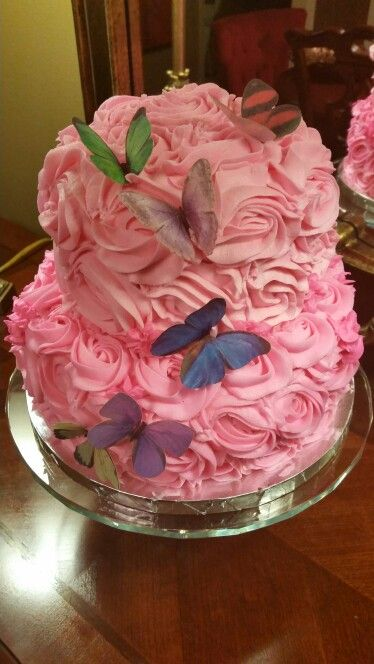 Birthday Cake For A 6 Year Old Girl Who Loves Pink And Butterflies