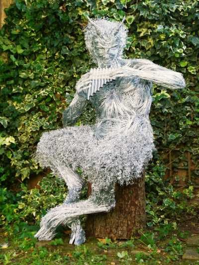 Steel Wire By Barbara Foster Titled: U0027The Great God Pan (Outdoor Garden  Fawn Statue)u0027.