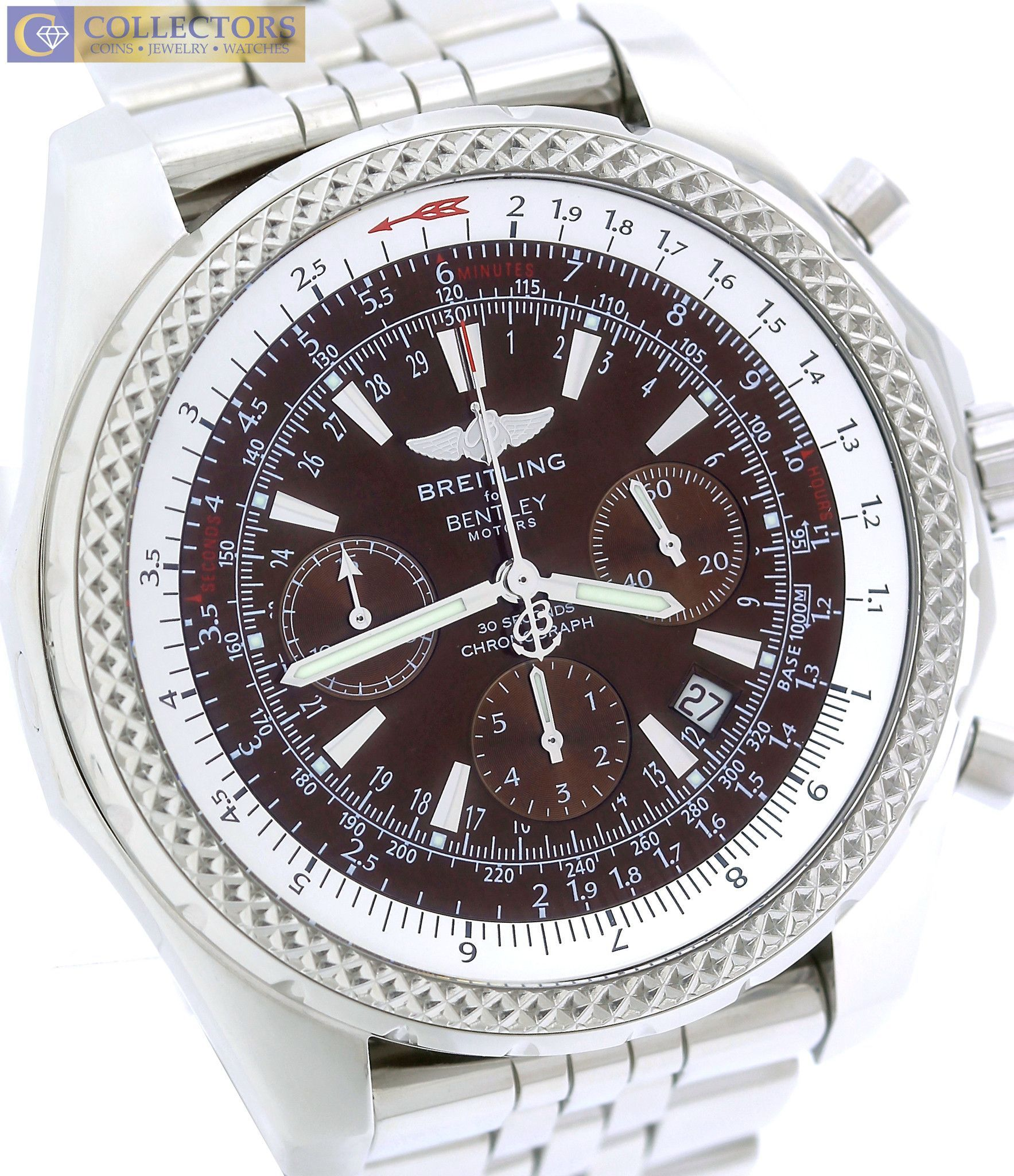 breitling eta steel automatic chronograph bentley kal ref en full zeitauktion