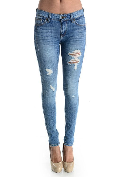 Distressed Cuffed Skinny Jeans - Love Culture | Distressed Blues ...