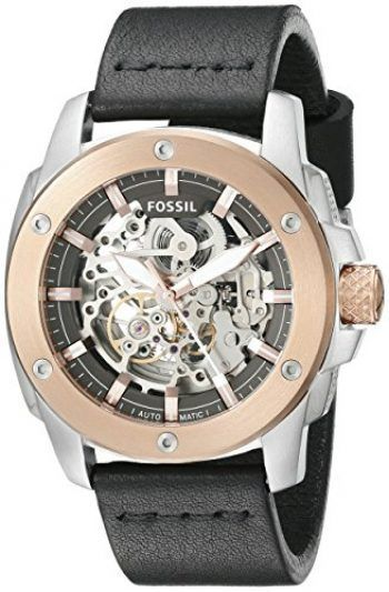 c8f597a9af4 Fossil Men s ME3082 Modern Machine Automatic Leather Watch – Black Relojes  Fossil