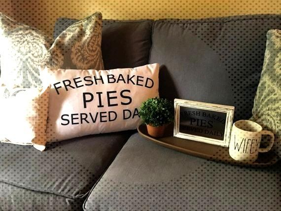 Fresh Baked Pies Served Daily Pillow, Farmhouse Pillow Cover, Decorative Throw Pillow, Wedding Gift