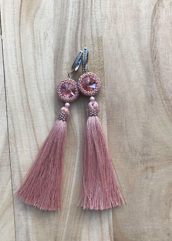 cc5ddac957926f Wedding earrings Silk earrings Tassel earrings Pink earrings Peyote earrings  Silver earrings Beads earrings Drusy earrings