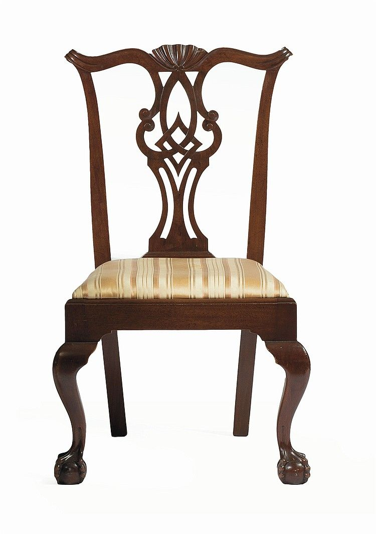 MASSACHUSETTS CHIPPENDALE CARVED MAHOGANY SIDE CHAIR. Chippendale ChairsEarly  AmericanSide ChairsMassachusettsAntique ... - MASSACHUSETTS CHIPPENDALE CARVED MAHOGANY SIDE CHAIR. Antique