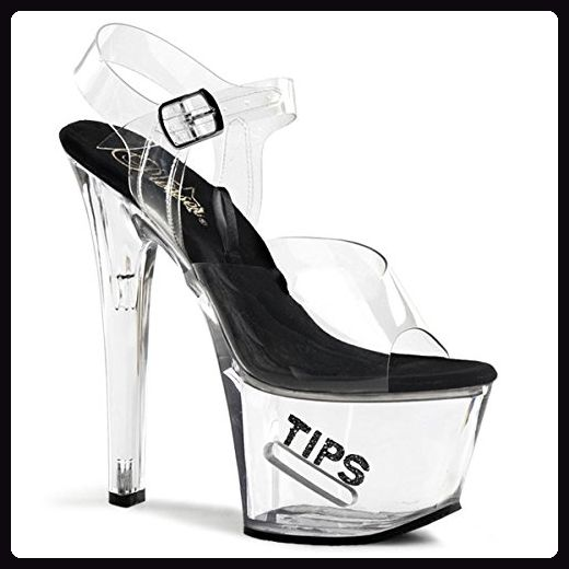 e567503a574762 Pleaser Tipjar-708-5 - Sexy Plateau High Heels Sandaletten mit Tip-Slot